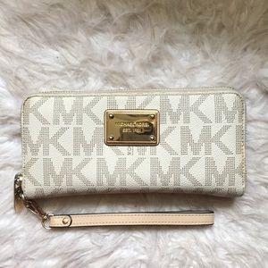 a7455a17bc6e ... discount michael kors bags white mk logo zip up wallet 998e8 dd0ed